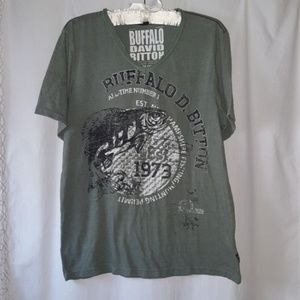 Buffalo David Bitton Green Vneck Graphic Tshirt